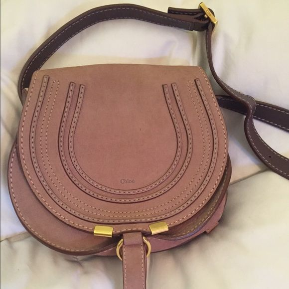 Chloe Marcie(small) Small, pink suede Marcie saddle bag ...