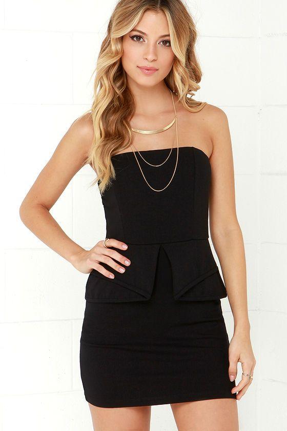 Step by Pep Black Peplum Dress at Lulus.com!