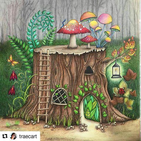 Repost Traecart With Repostapp Johannabasford Enchantedforest Prisma Johanna Basford Coloring BookTree