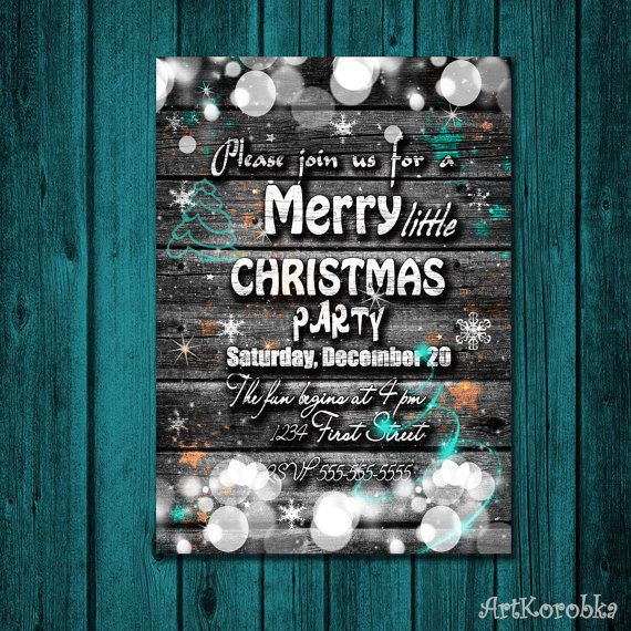 Christmas Party Invite Rustic Christmas Invitation by Artkorobka