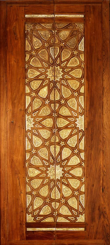 Old door from Cairo, ca. 1325-1330, wood inlaid with carved ivory