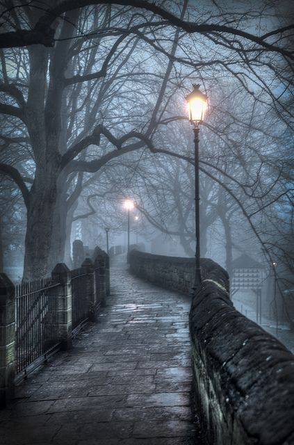 Lanterns try to ward of the Fog on a  Walkway in Chester, England whoa awesooome!