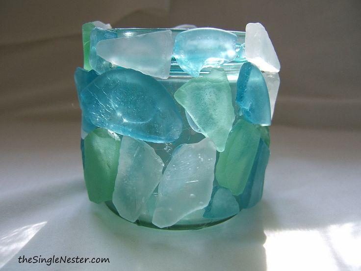 sea glass crafts | Sea Glass Votive Candle Holder