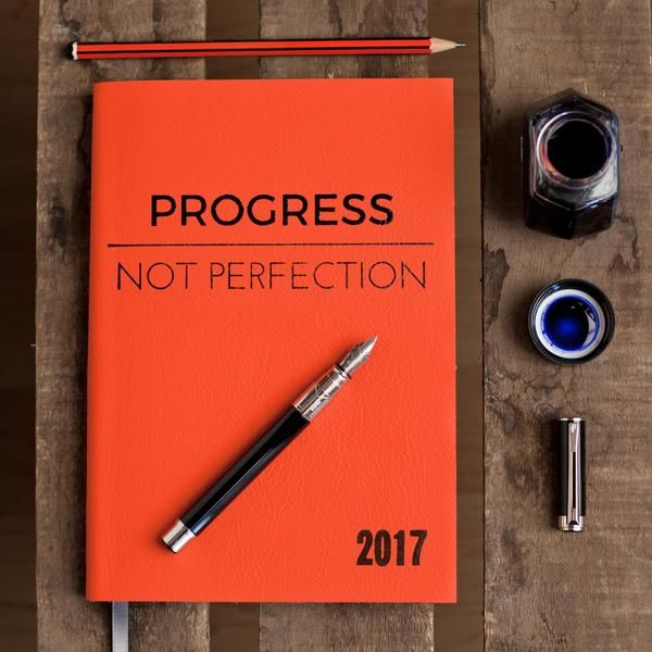 Personalised diary - Progress Not Perfection - luxury leather diary by Hope House Press