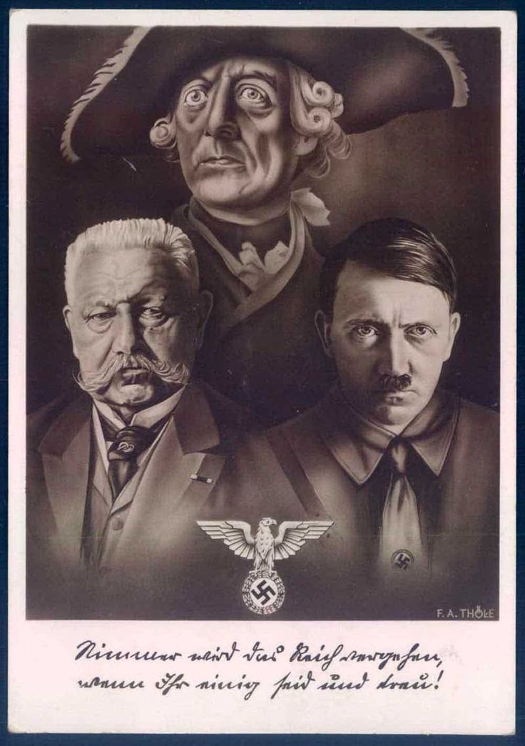 Reich's Chancellor Hitler & Reich's President Hindenburg stand side by side with the legendary Prussian King (who Hitler idolized) Frederick the Great, watching over them. Hitler greatly respected Hindenburg and did so until his death of old age, then which Hitler ascended from Chancellor to Führer, assuming total control of the Reich.