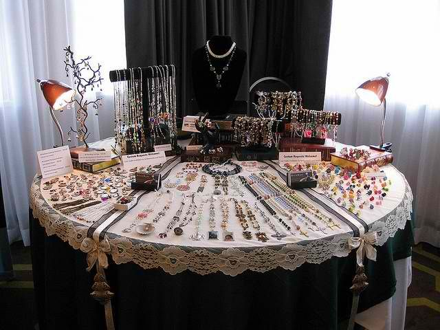 Craft Show Table Display Round Table November 2012 Abbotsford, BC Display  For Bits N Beads By Gilliauna, The Teardrop Shop And Stumbling On Sainthood.