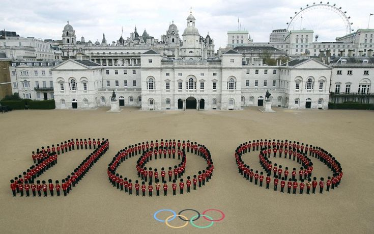London. 250 Guardsmen mark 100 days to go to the Olympic games.