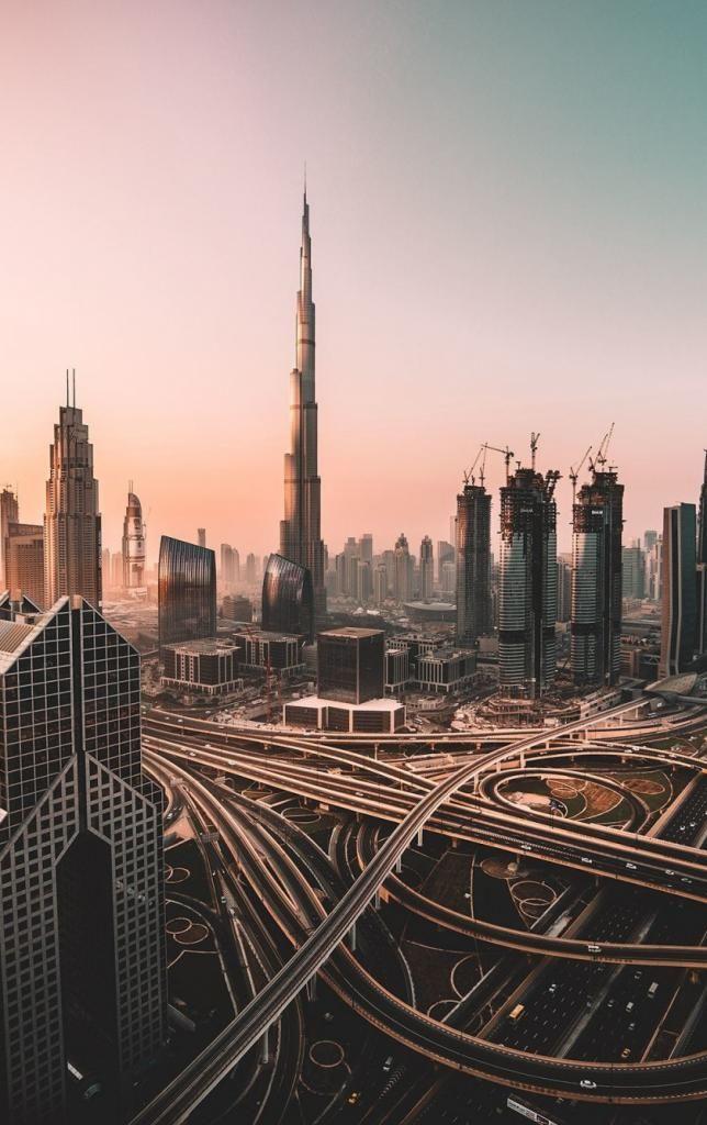 4k Iphone X Wallpaper Dubai Skyline Cityscape Skyscrapers Burj