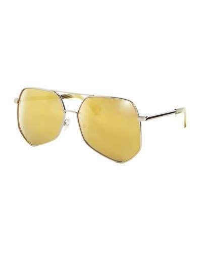 Grey Ant Megalast Geometric Aviator Sunglasses, Silver/Gold - $420.00