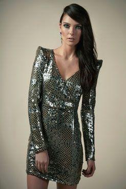 Boutique Lorraine Patchwork Sequin Wrap Front Dress at boohoo.com