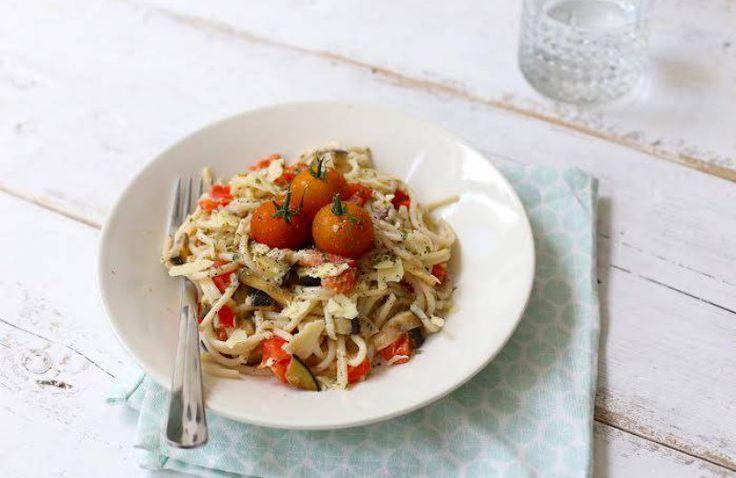 Romige pasta met paprika en aubergine