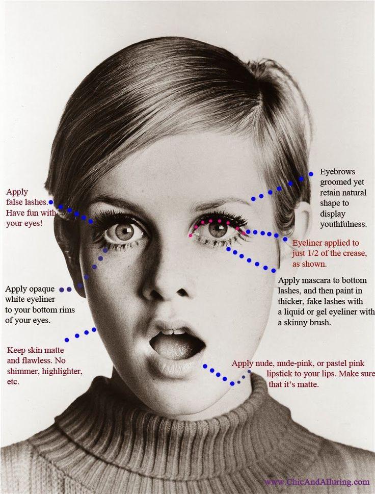 1960s Mad Men Megan / Twiggy Mod Makeup Look  http://www.chicandalluring.com/2014/04/1960s-mod-makeup-look.html