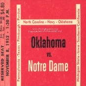 Notre Dame vs. OU football tickets- drink coasters. Oklahoma football gifts. http://www.oklahomafootballgifts.com/ The best Oklahoma football ticket gifts in America! #47STRAIGHT