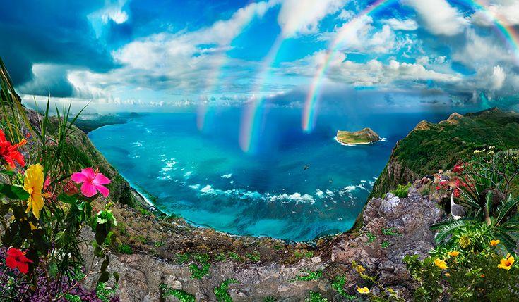 THE RAIN COMES AT THE END OF KO'OLAU RANGE TOP / Satoshi Matsuyama  #Satoshi Matsuyama #Hawaii #art #Landscape