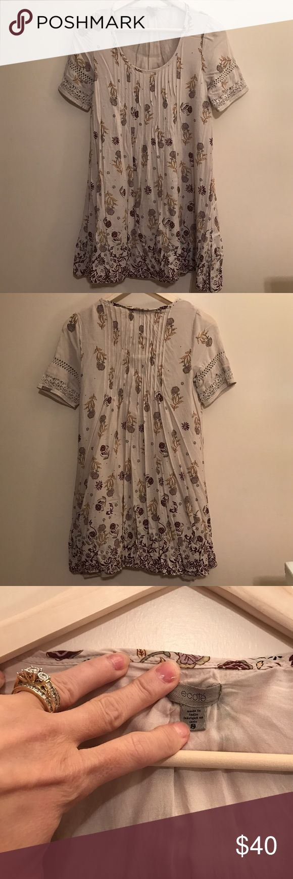 Ecote Dress/Tunic-UO-EUC-Size Small Ecote Dress/Tunic-UO-EUC-Size Small. This dress could be worn as a dress or tunic. It's fully lined and incredibly comfortable. The color is hard for me to describe. In my opinion it is Ecru/Brown BUT my husband says it's light gray/brown. Either way, the dress is darling! I only wore it twice and hand washed, laid flat to dry. IMO this is a dress for all seasons. Perfect with wedges, sandals or leggings and boots! Offers welcome through the offer button…