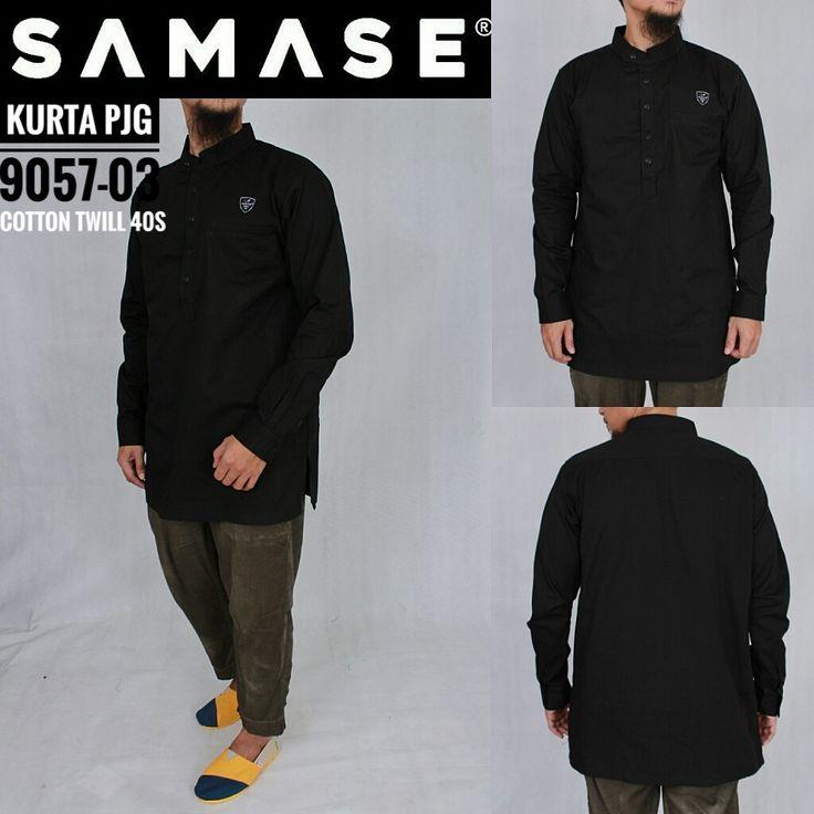 SAMASE GAMIS KURTA PAKISTAN 9057 PJG Warna Hitam Polos