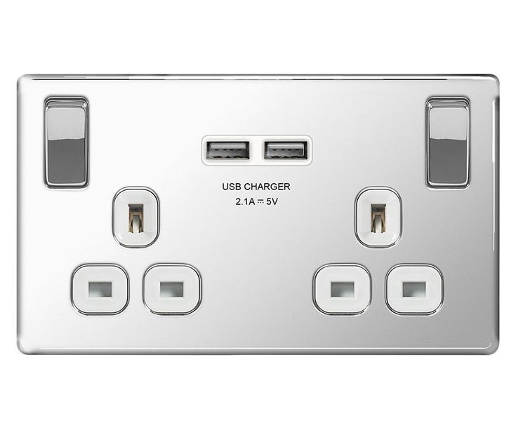 Screwless Flat Plate 13A Double Plug Socket with 2 x USB Charger, Polished Chrome Finish, White Inserts