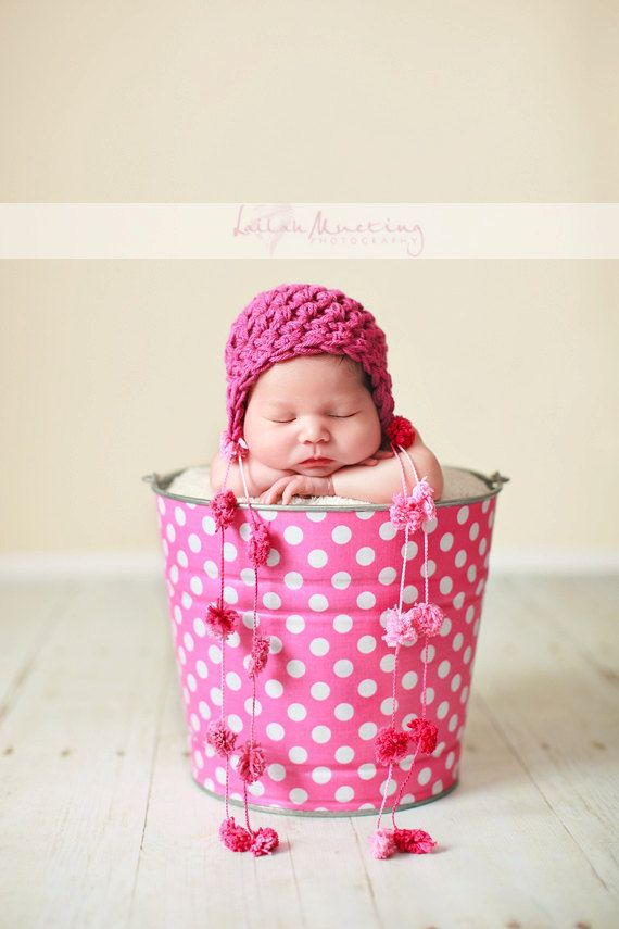 Newborn Baby Girl Photo Prop Galvanized Bucket Bubble Gum Pink and White Polka Dot