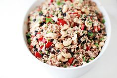 Brown+Rice+Salad+with+Currants,+Cashews+and+Capsicum