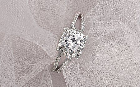 Monique Lhuillier Modern Collection of engagement rings for Blue Nile.