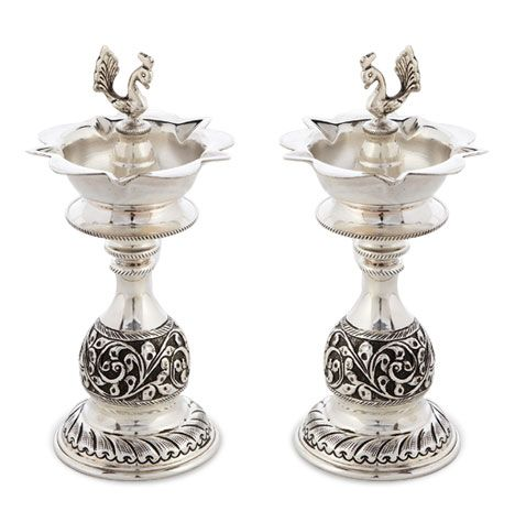Silver Articles | Antique Stylish Silver Lamp | Antique Silver Vilakku