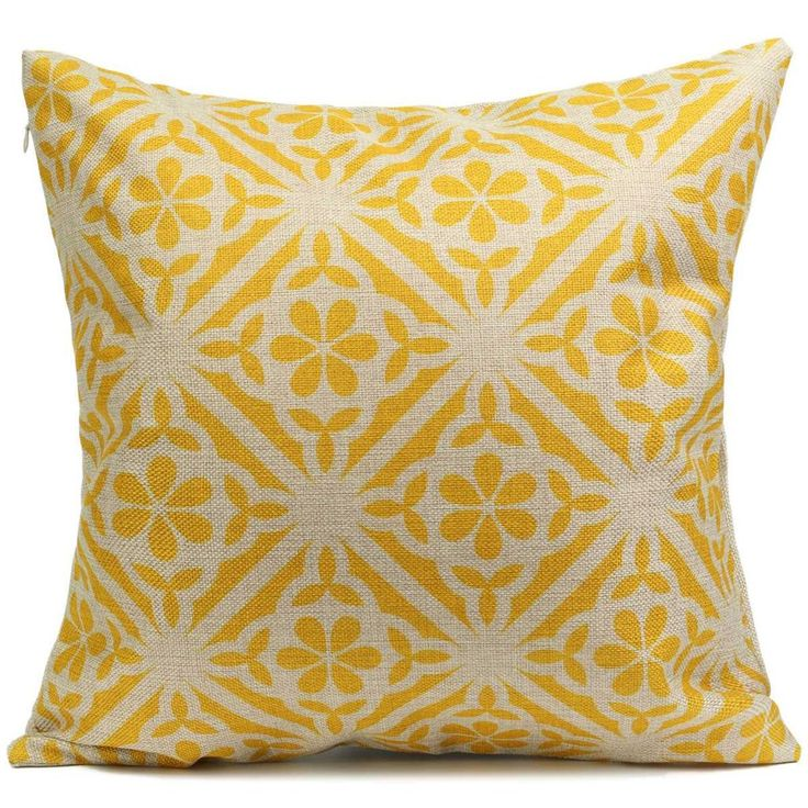 retro linen yellow grey accent throw pillows choose from 4 unique designs unique home decoraccent