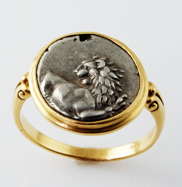 Ancient Lion Coin Ring - pave in berkeley