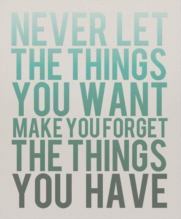 Never let the things you want make you forget the things you have ✨