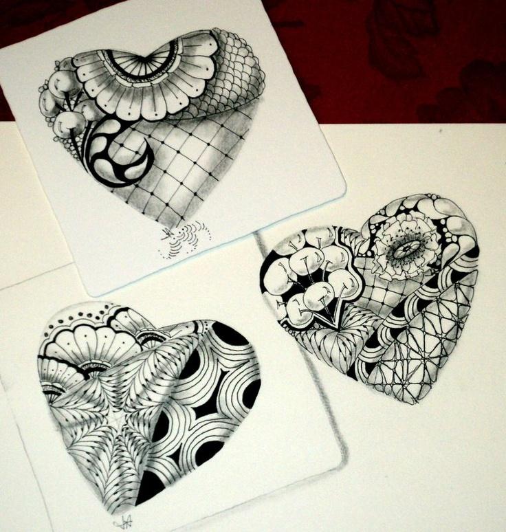 223 best Zentangle Hearts images on Pinterest |Zentangle Heart Graphics