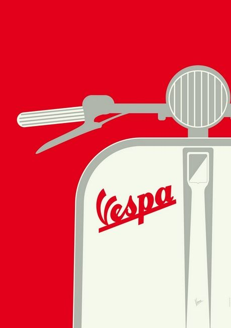 RED (Primary): Red isn't a normal colour to be associated with Vespa, as they are known for there use of pastel colours on all there scooters. But the red is used in this poster in which to create attention and emphasis on the Vespa logo and scooter.