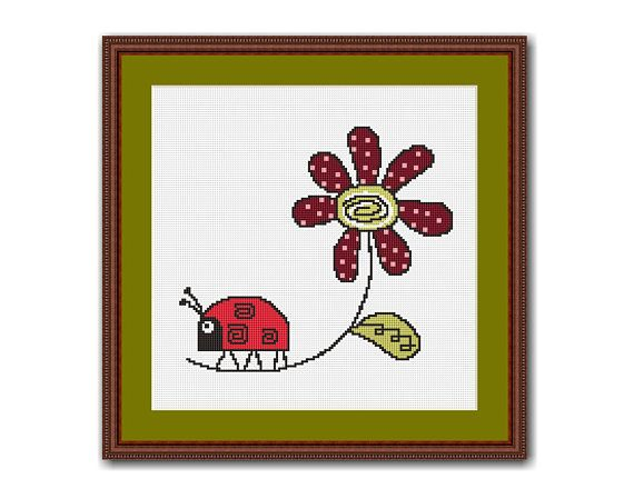 Ladybug and Flower Cross Stitch Chart / Pattern, Instant Digital Download, Floral   (QS015) Quick & Easy, Beginners