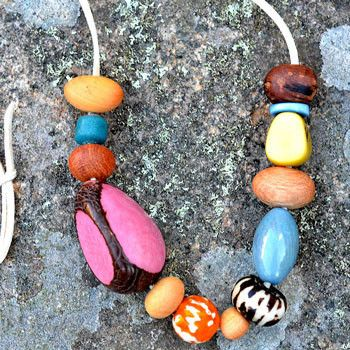 Australian Made Gifts & Souvenirs with the Pink Eco Wooden Necklace -by The Spotted Quoll. For the best Australian online shopping for a Accessories - 1