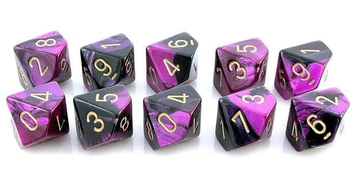 Gemini Dice (Black and Purple); 10 X D10 Dice Set