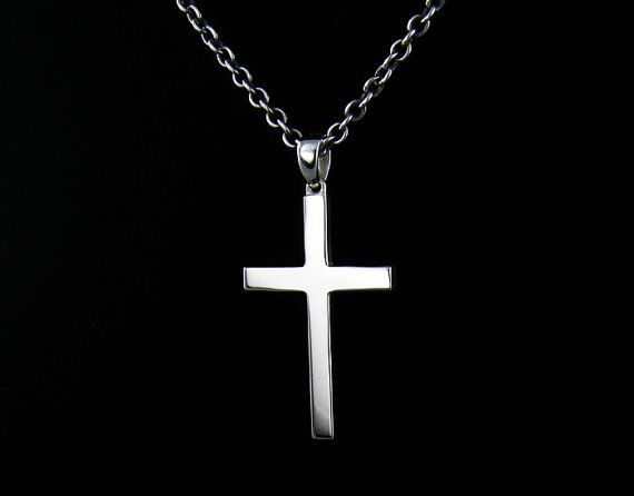 P315SC Mens Sterling Silver 925 Simple Cross Pendant Chain Necklace Set