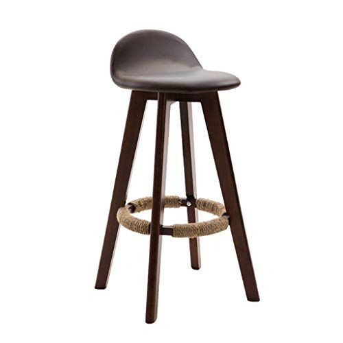 Barstools Chair Footrest With Backrest Linen Cover Seat Dining Chairs For Kitchen Pub Cafe Bar Stool 4 Wood Legs M With Images Cafe Bar Stools Solid Wood Chairs Bar Stools