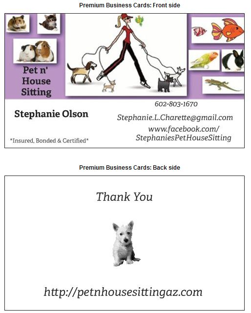 My Business Card Contact Info Pet Sitting Business