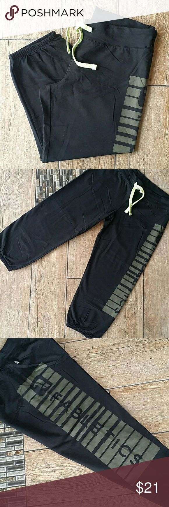 """NWT FABLETIC CROPPED JOGGERS NWT Black cropped pants """"FABLETICS""""written down left leg in army green Functional lime green drawstring Elastic gathering below the knee 1 rear pocket 20"""" inseam No rips, stains or defects Smoke free home Fabletics Pants Track Pants & Joggers"""