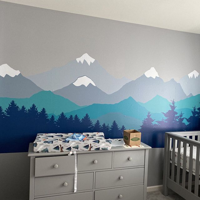 Mountain Wall Decal Mural Nursery Wall Decals Wall Etsy Nursery Wall Murals Mountain Wall Decal Nursery Kids Room Murals