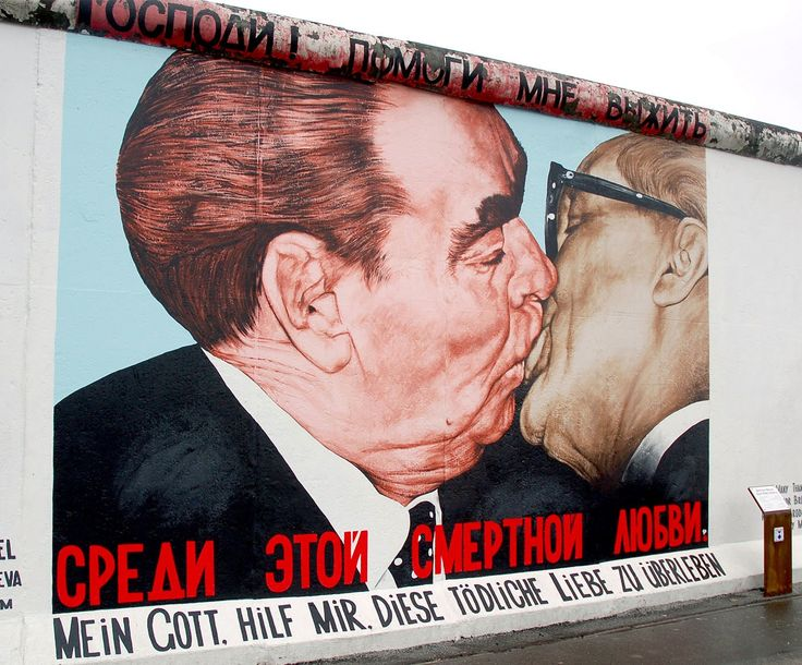 Berlin - the socialist fraternal kiss, Erich Honecker and Leonid Brezhnev,