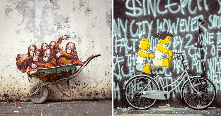 Whimsical New Murals by Ernest Zacharevic Play with Their Surroundings on the Streets of Malaysia
