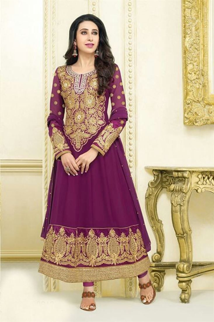 Karishma Kapoor Purple Georgette Heavy Worked Embroidered Suit @ 50% discount