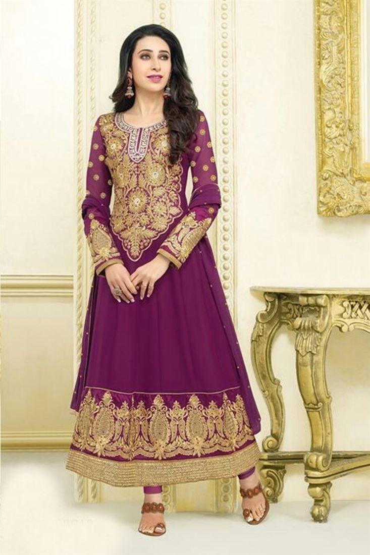 Karishma Kapoor Purple Georgette Heavy Worked Embroidered Suit @ 50% discount