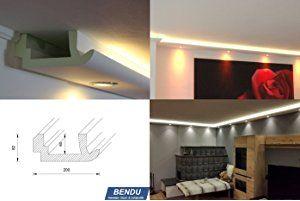 BENDU – Moderne Stuckleisten bzw. Lichtprofile für indirekte Beleuchtung von Wand und Decke aus Hartschaum WDKL-200A-PR. Kombinierbar mit LED Band bzw. Lichtschlauch und / oder Spots bzw. Downlights.