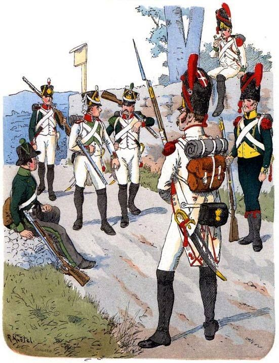 Kingdom of Italy (1812)-from left to right: Sharpshooter in Brescia, a soldier of the reserve company, fusilier and line infantry grenadier voltigeur, line infantry, light infantry carabiniere. Fig. R. Knotel.