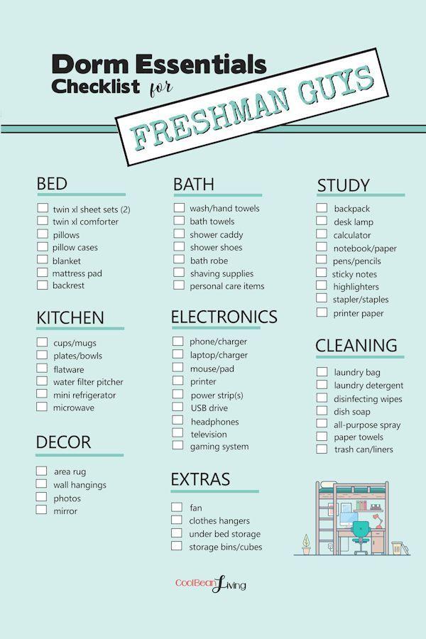 An Essential College Dorm Must Have Checklist For A First Year Freshman Boy Freshmanyear College Dorm Essentials College Dorm Room Essentials Dorm Checklist