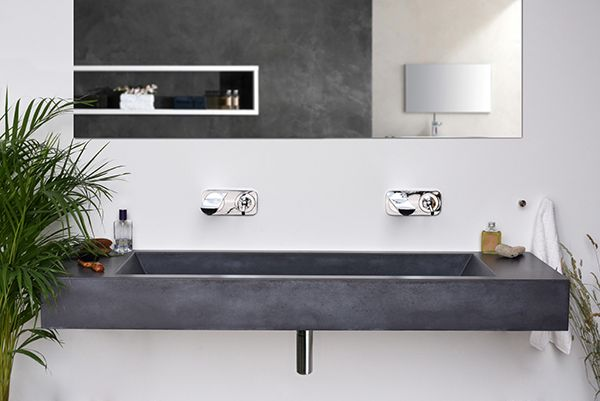 Concrete washbasin / Slant 05   designed by Tomas Vacek www.studiovacek.cz  for Gravelli www.gravelli.com  free 3d model http://www.archiproducts.com/en/products/224632/classic-style-double-wall-mounted-cement-washbasin-slant-05-double-gravelli.html