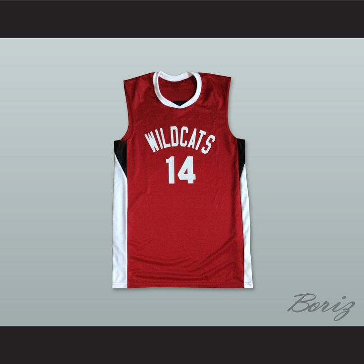Zac Efron Troy Bolton 14 East High School Wildcats Red Basketball Jersey