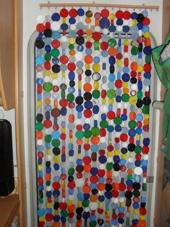 Curtains from plastic bottle lids!