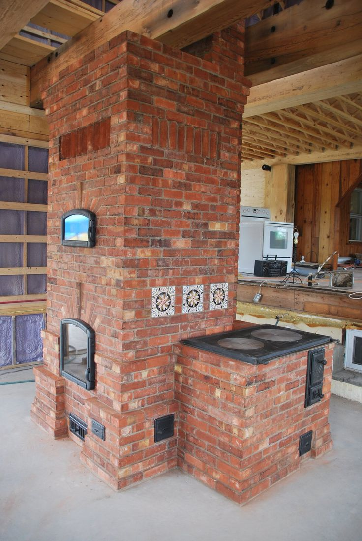 Masonry heater with bake oven and cookstove.