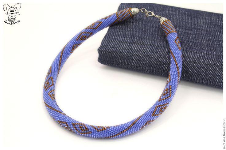 """Купить Голубой жгут из японского бисера """"Джинсовый"""" - комбинированный, голубой, голубой цвет, голубое колье"""